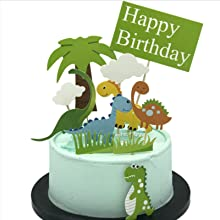 Jurassic Dinosaurs Cake Toppers - 11 Pcs Dinosaurs Family Cake Decorations for Dinosaurs Theme Birthday Party & Baby Shower