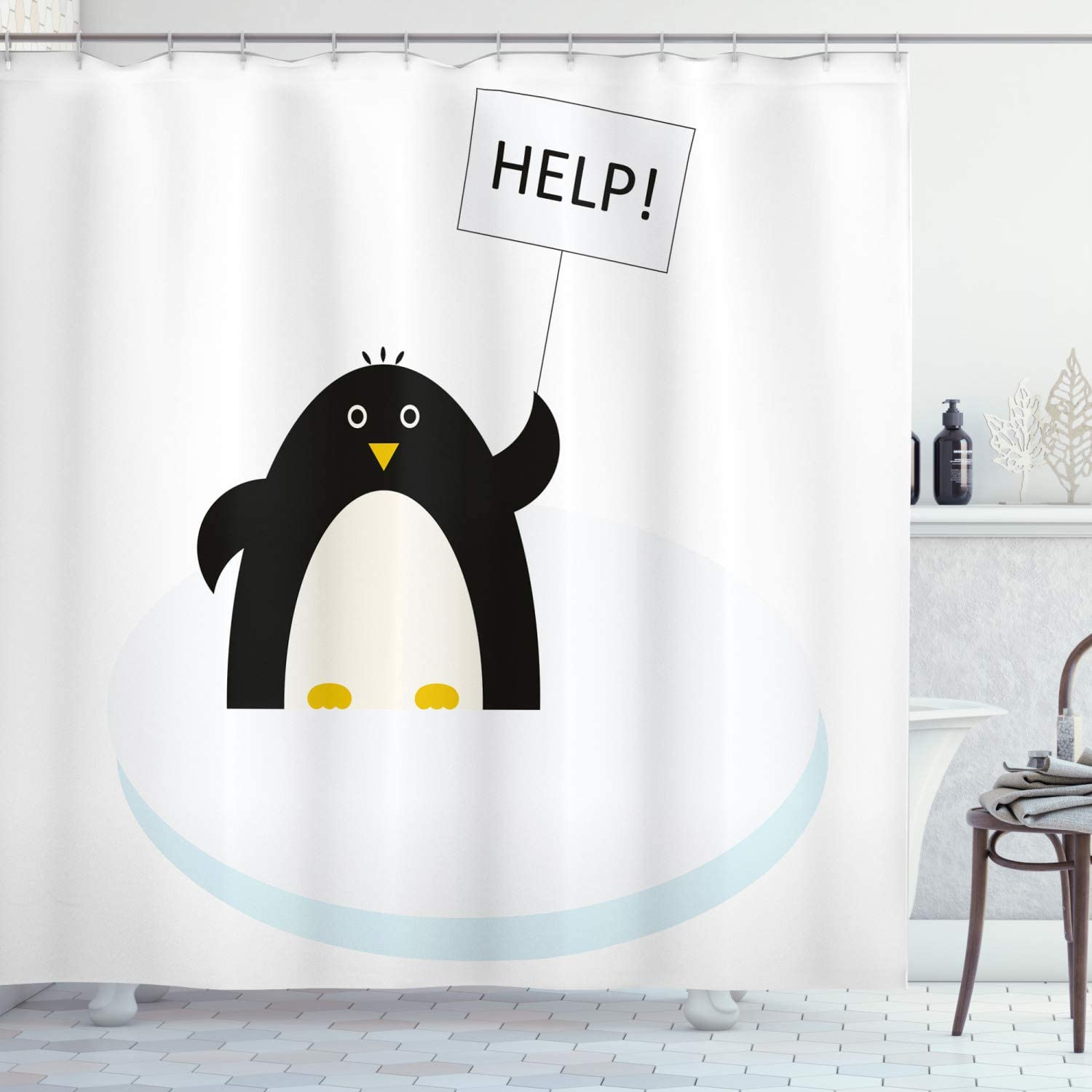 Ambesonne Animal Shower Curtain Lilac Grey White Fabric Bathroom Decor Set with Hooks 70 inches Penguins on Polar ICY Land Winter Climate Arctic Cold Season Creatures Print
