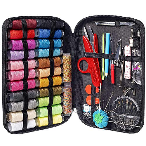MYFOXI Sewing Kit for Adults, Kids, Home, Travel, Sew Repair, – 101pc Deluxe Mini Sewing Supplies Set with Thread and Needle, Stitch Ripper, Buttons, Safety Pins, Zippered Organizer Sew Box (101)