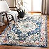 Safavieh Monaco Collection MNC243N Boho Chic Medallion Distressed Non-Shedding Stain Resistant Living Room Bedroom Area Rug, 3' x 5', Navy / Light Blue