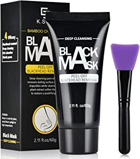 AFDEAL Blackhead Remover Face Mask, Charcoal Peel Off Mask, Bamboo Activated Black Charcoal Masks with Brush, Deep Cleansing Purifying Facial Mask for All Skin Types, for Both Men and Women 2.11 fl/oz