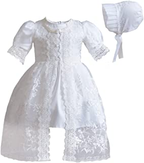 729cb133a3c Romping House Baby Girls 3Pcs Organza Lace-Overlay Christening Gown Baptism  Dress With Bonnet