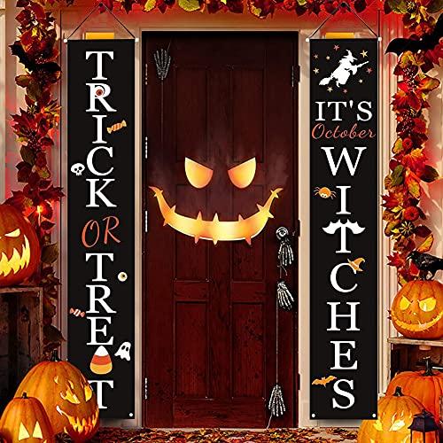 Gukasxi - Segnale per Halloween per porta d'ingresso, per Halloween o scherzo, decorazione per interni ed esterni, decorazione da appendere, motivo spettrale, portico e coppia, decorazioni
