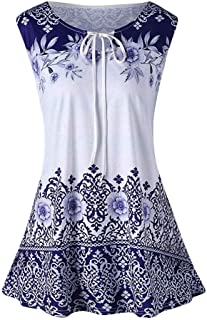 DADKA Tops for Women Ladies Vest Fashion Plus Size Printed Tank Tops Sleeveless Blouse Keyhole T-Shirt