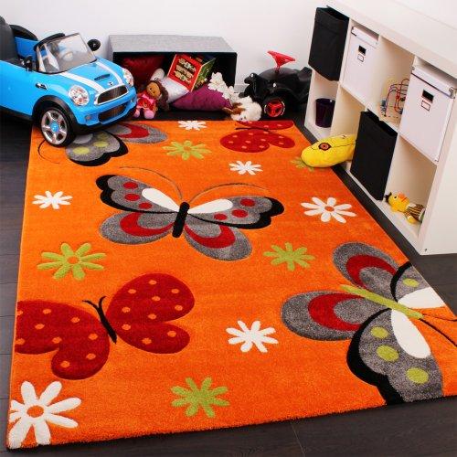 PHC - Tappeto per camera dei bambini, motivo: farfalle, colore: Arancione/Crema/Verde/Rosa