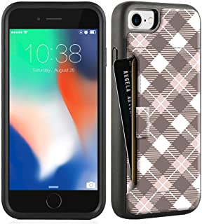 ZVE Wallet Case for Apple iPhone 8 and iPhone 7, 4.7 inch, Case with Credit Card Holder Slot Slim Wallet Leather Protective Case Cover for Apple iPhone 7/8 4.7 inch (Aries Series)- Brown Plaid