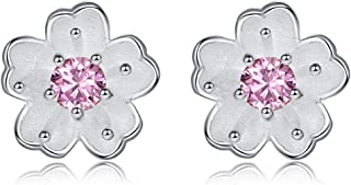 qanyue Women's S925 Sterling Silver Cherry Flower Pink Cubic Zirconia Jewellery