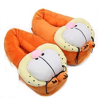 43c7c490692 Women s unisex Garfield style cartoon warm plush slippers cotton shoes
