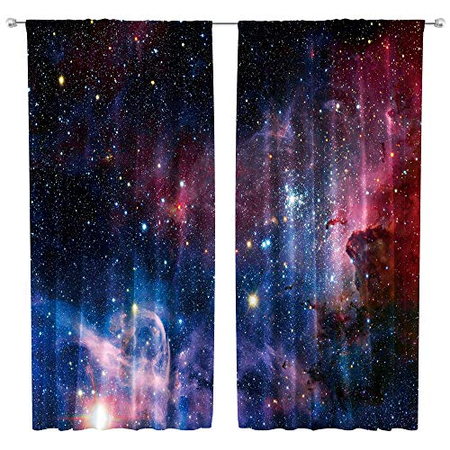 Riyidecor Kids Colorful Galaxy Curtains Rod Pocket (2 Panels 42 x 63 Inch) Boys Outer Space Blue Purple Universe Planet Nebula Starry Sky Astronomic Living Room Bedroom Window Drapes Treatment Fabric