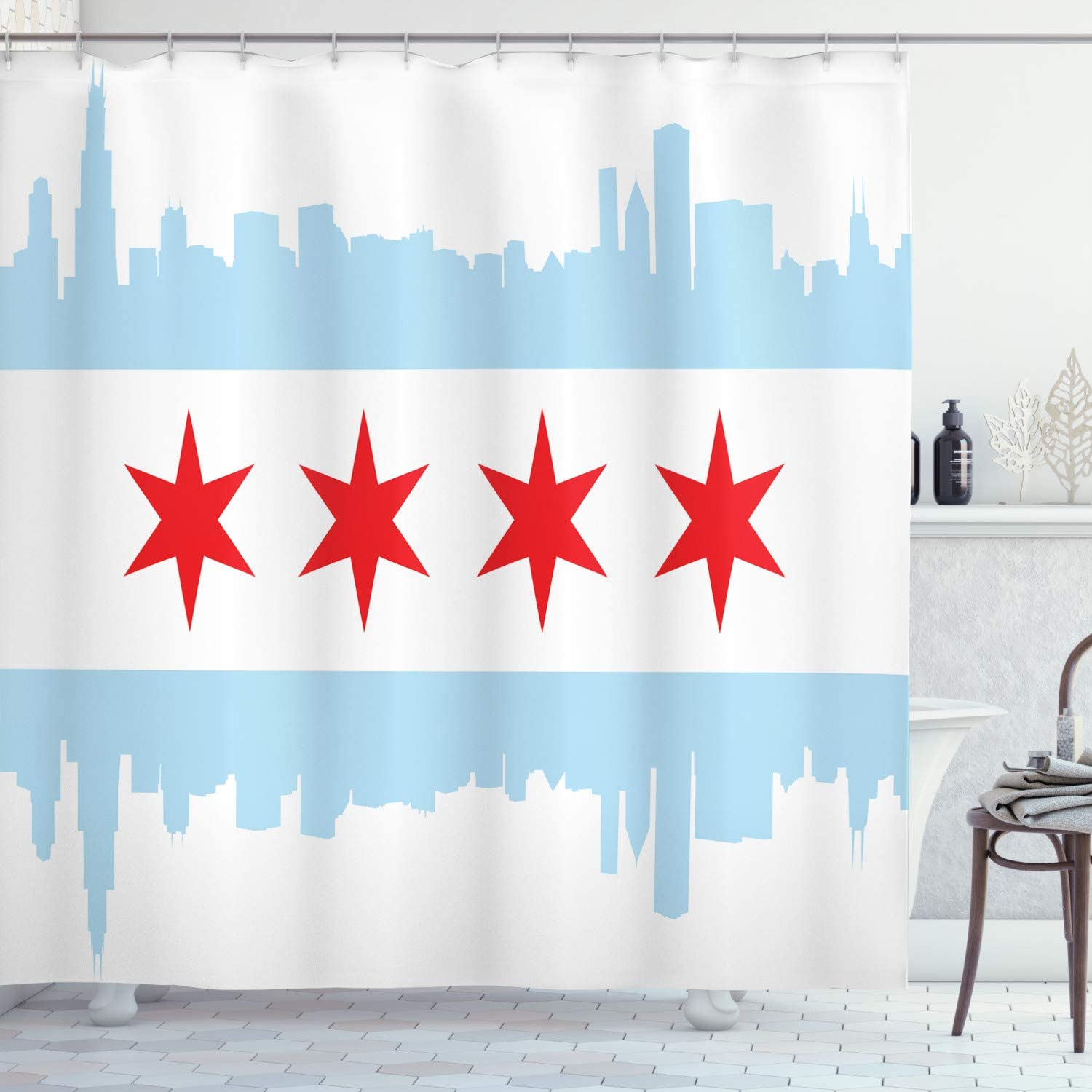 ambesonne chicago skyline shower curtain city of chicago flag with high rise buildings scenery national cloth fabric bathroom decor set with hooks