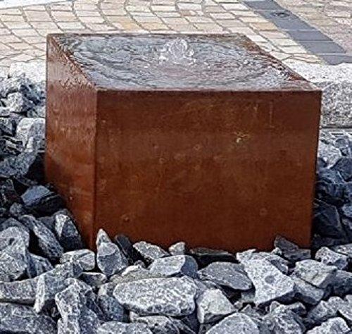 garten-wohnambiente Quader Würfel 50/50/50 cm Cortenstahl Roststahl Wasserspiel