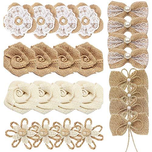 HOSTK 24PCS Flores de arpillera hechas a mano, flores rústicas naturales de encaje de perlas Bowknot, bodas, regalos, tarjetas de felicitación, fiestas, 6 estilos para ramos artesanales de bricolaje