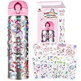 YOFUN Decorate Your Own Water Bottle with 11 Sheets of Unicorn Stickers & Glitter Gems, Craft Kit & Art Kit for Children, Gift for Girls Age 4 5 6 7 8 9 10 Years Old Kids, BPA Free Insulated Mug