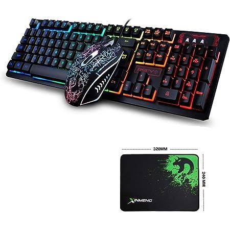 FELiCON Juego de Teclado y Mouse para Juegos K13, 104 Teclas, Rainbow LED Teclado Retroiluminado para Juegos, Mouse óptico dpi (800/1600/2000/2400DPI) ...