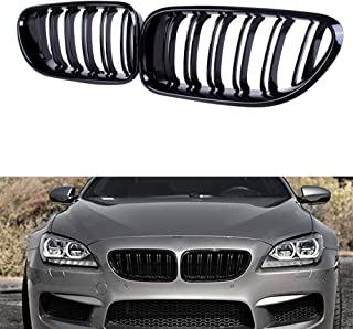 Huichi Front Grille, Kidney Grill Replacement for BMW 6 Series F06 F12 F13 2012-2017 (Glossy Black ABS)