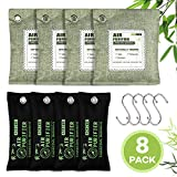 Acmind Air Purifying Bags, Activated Bamboo Charcoal Natural Air Purifier Freshener, Odor Eliminators for Home, Pets, Car, Closet, Shoes (8 Pack & 4 Hooks)