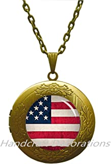 American Flag Locket Necklace United States Flag Jewelry, American Patriot Gift, American Army Flag Locket Pendant, United States Flag Patriotic Locket Necklace.F226