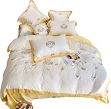 The New Pastoral Style Cotton Materials Stitched Embroidered Flowers Leaves White Yellow Butterfly Bedding Four Simple Qui...