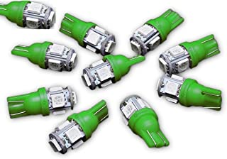 Zone Tech T10 5-SMD LED Bulb - 10-Piece Premium Quality Bright Green 8-SMD 194 168 2825 T10 5-SMD LED Car Lights Bulb