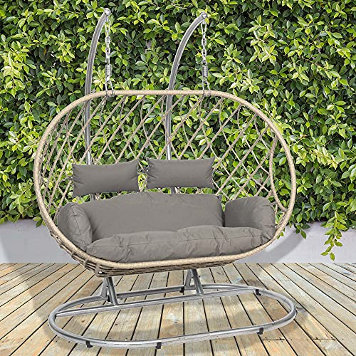 GardenCo Milan Double Hanging Egg Chair - Outdoor and Indoor Rattan Weave Swing Hammock - Hanging Stand (Grey with Grey Cushions)