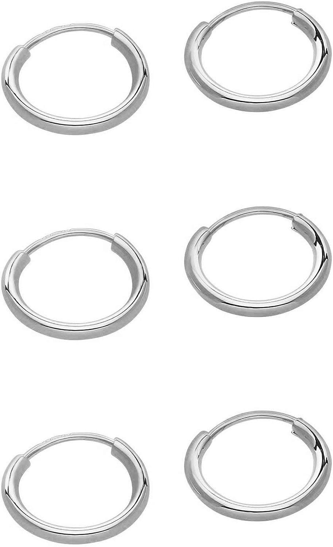 3 Elegant Pair Set 14k Gold Earrings Endless Award 10mm Hoop