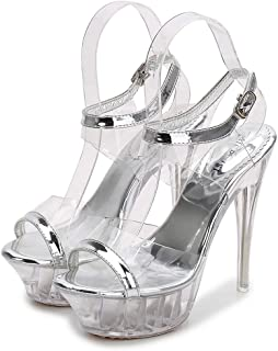 Women High Heel Cross Over Ankle Strap Sandals Shoes,Model high heels sexy transparent crystal shoes waterproof platform sandals 14CM