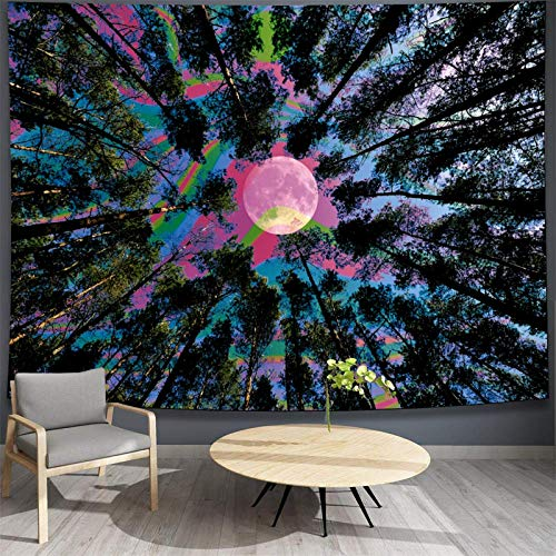 Forest Moon Tapestry Glow in The Dark Moon Starry Tapestry Tie Dye Tree Tapestry Natural Trippy Tapestry Wall Hanging for Room