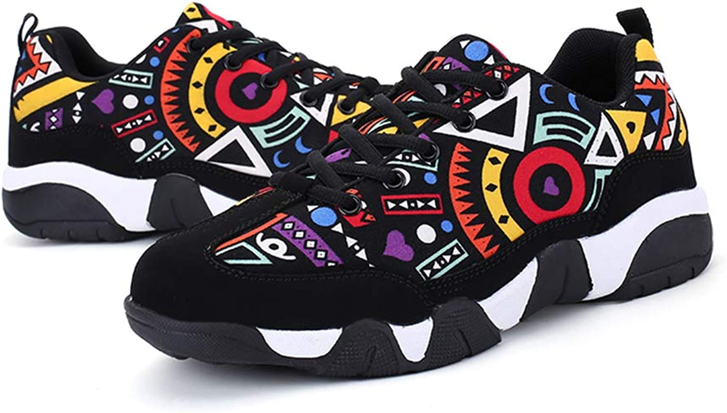 Bokun Women shoes Platform Trainers Sneakers Abstract Pattern Casual Canvas shoes