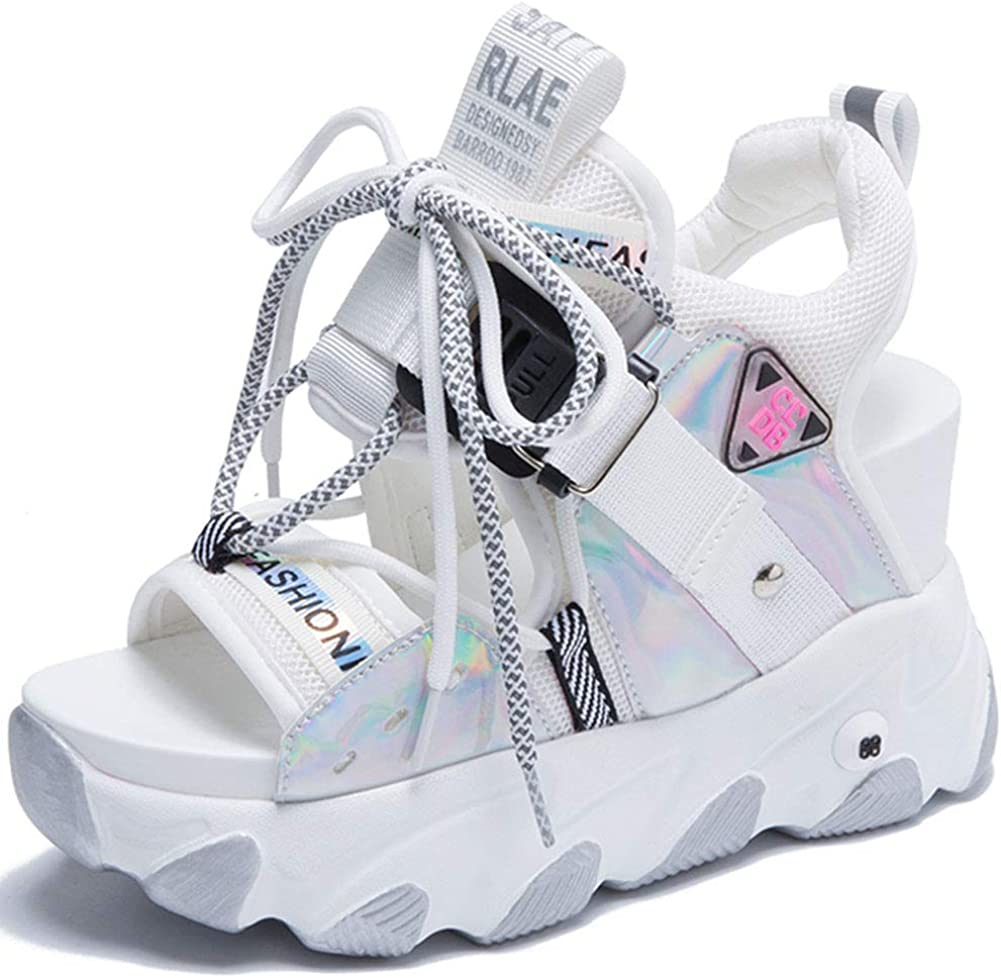 SaraIris Platform Sandals for Women Comfy Outstanding Toe Wedge Open Glitter discount