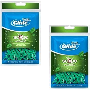 Glide Dental Floss Picks Plus Scope Outlast, Long Lasting Mint, 75 Dental Floss Picks - Pack of 2