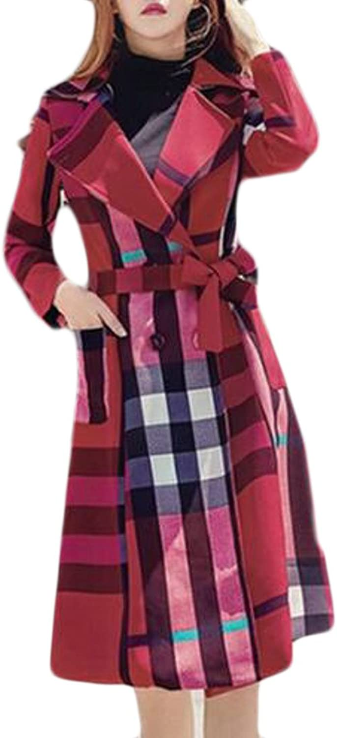 HTOOHTOOH Womens Slim Fit Pockets Plaid Autumn Wool Blend Jacket Coat