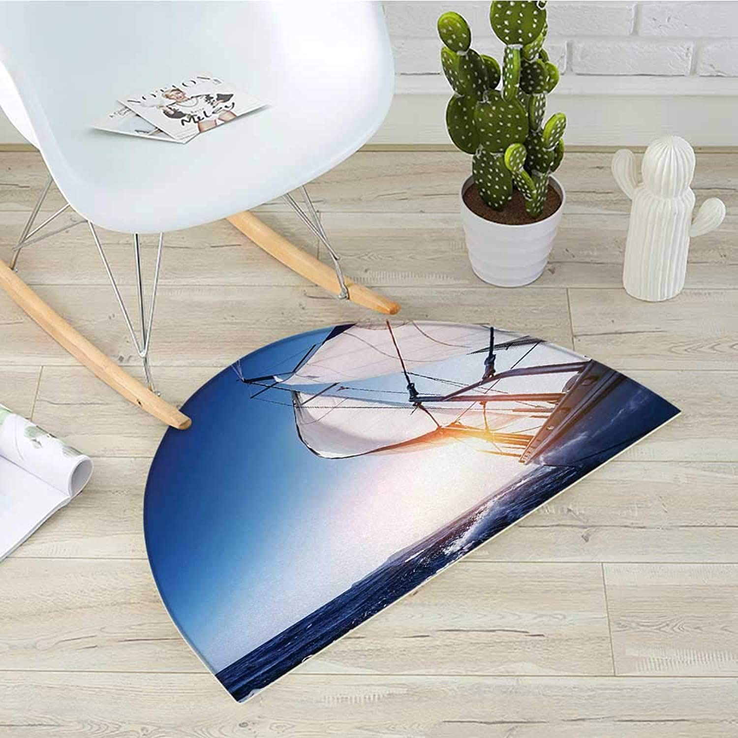 Sailboat Semicircular CushionSail Boat in Action Summer Adventure Water Transport Sunset Light Travel Entry Door Mat H 31.5  xD 47.2  White Dark bluee