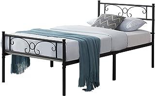 HJhomeheart Lit Simple en Métal Cadre de lit pour Adulte Lit 90x190, Lit en Metal Moderne Lit Plateforme avec tête de Lit ...