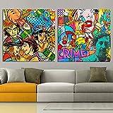 ganlanshu Pintura sin Marco Graffiti Personaje de Dibujos Animados Pintado sobre Lienzo para decoración del hogar Pared Sala de Estar decoración de Arte ZGQ1759 60X60cmx2