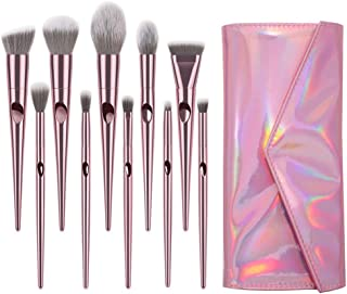 Winsummer 10 Pieces Makeup Brushes Sets Premium Makeup Brush Set Cosmetics Premium Synthetic Kabuki Foundation Blending Blush Concealer Eye Shadows Face Liquid Powder Kits with Leather Cosmetic Bag