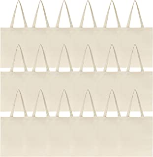 Jillmo Canvas Tote Bags Bulk, 6oz 100% Natural Cotton Plain Blank Tote Bags for Crafts (18 Pack)