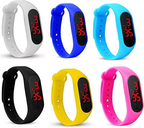 Silicone Slim Digital LED Black Dial Boy s and Girl s Bracelet Band Watch Combo Set of 6 Watch for Kids Boys and Girls Kids Boys Watches Men s Watches