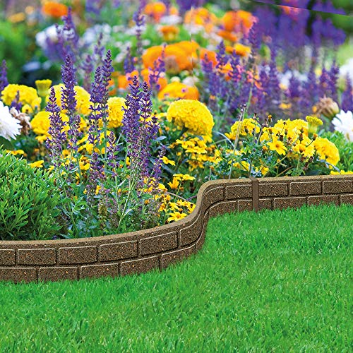 Garden Gear Ultra Curve EZ Brick Effect Border Eco-Friendly Ornamental Weatherproof Edging, Recycled Rubber Tyre for Garden, Path & Patio, Height – 9cm (1 x 1.22 M)