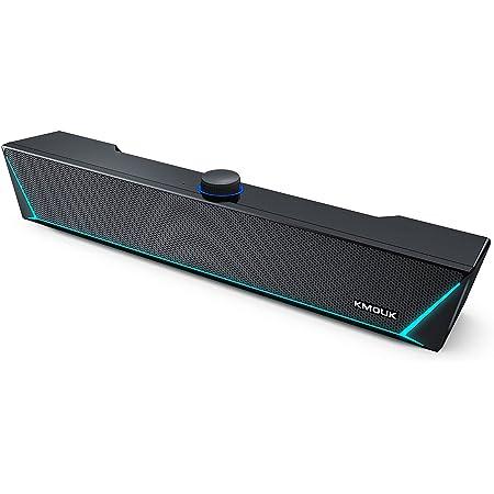 PC スピーカー KMOUK Bluetooth USB ゲーミング デュアルパッシブラジエーター aux USB給電 サウンドバー LED RGB ライト 小型 パソコン/スマホ対応 マイク付き KM-HSB002 ブラック