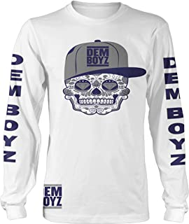 Millionaire Mentality DEM Boyz White, Blue & Grey Candy Skull Long Sleeve T-Shirt (Limited Edition)