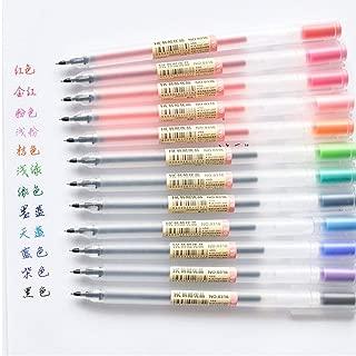 Zonster 12 PC/porción de 0.5mm Pluma del Gel del Color de la Tinta Pluma del Fabricante Pluma Escuela de papelería MJ Estilo de 12 Colores