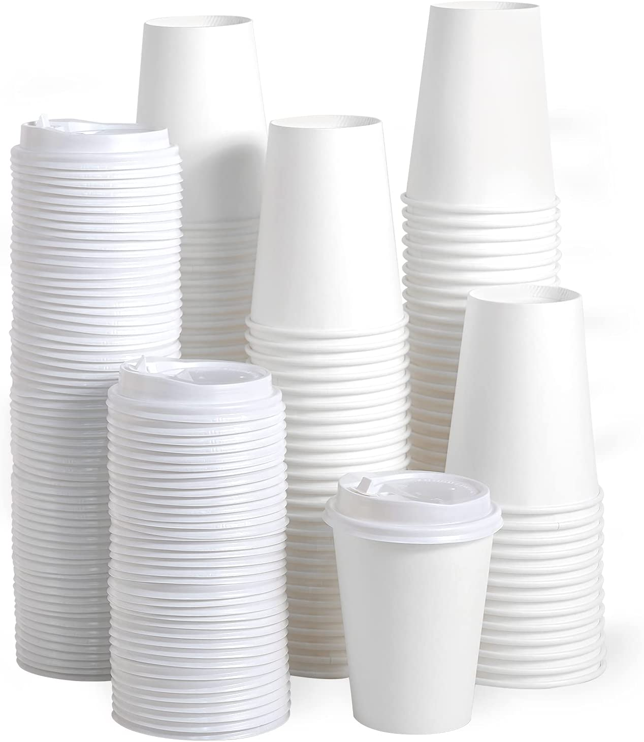 [100 Pack] 16 oz Paper Coffee Cups, Disposable Paper Coffee Cup with Lids, Hot/Cold Beverage Drinking Cup for Water, Juice, Coffee or Tea, Suitable for Home, Shops and Cafes