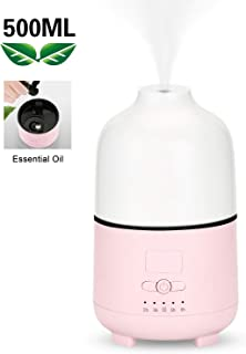 Aromatherapy Essential Oil Diffuser 500ML Ultrasonic Diffuser Cool Mist Humidifier with Auto Shut-off Function, One Fill for 16hrs Consistent Scent & Aromatherapy, BPA-free Aroma Diffuser (Pink)