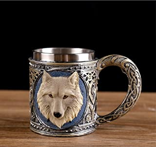 Panker Stainless Steel Wolf Mug, Creative Medieval Style Wolf Mugs for Drinking, Gothic Dining Decor for Home Wine Cabine...