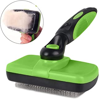 smartelf Pet Grooming Brush Self Cleaning Slicker Brushes for Dogs and Cats Long & Thick Hair Best Pet Shedding Tool for Grooming Loose Undercoat,Tangled Knots & Matted Fur
