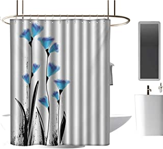 TimBeve Quality Polyester Shower Curtain Floral,Vector Flowers Turkish Ottoman Tulips in Ombre Watercolored Image,Sky Blue and Charcoal Grey,Durable Waterproof Fabric Bathroom Curtain 72