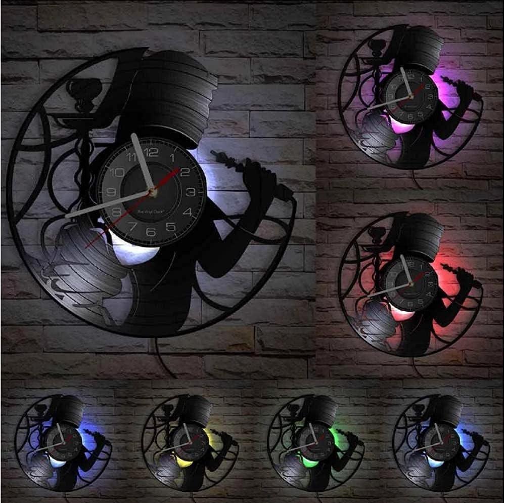Wwbqcl Hookah Smoking Lounge Registro Reloj de Pared Arte de la Pared Hombre Cueva decoración Reloj cachimba Vinilo Disco artesanía Reloj Entretenimiento Regalos