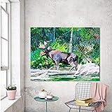 YuanMinglu Mural Lienzo Pintura al óleo Bosque Salvaje Pintura al óleo Ciervos Animales Sala de Estar decoración del hogar Pintura sin Marco 30x40cm