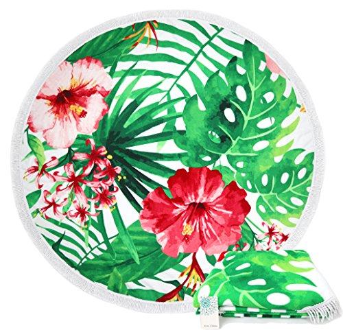 Leana Collection Serviette De Plage Ronde Tapisserie avec Frange Mandala Épaisse Coton Ultra-épais Tapis Mat Yoga Hippie Beach Ete Cadeau