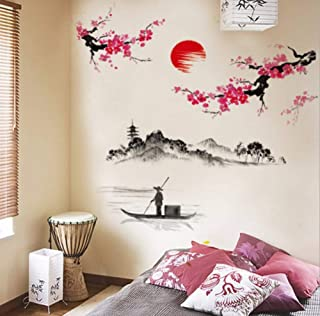 Wall Sticker Chinese Style Sakura Japanese Pink Cherry Blossom Tree Decor Wall Sticker Decor